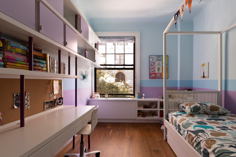Twin Canopy Bed Kids Contemporary with Bed Frame Bedroom Book Shelves Children Desk Girls Bedroom Millwork Painting Purple