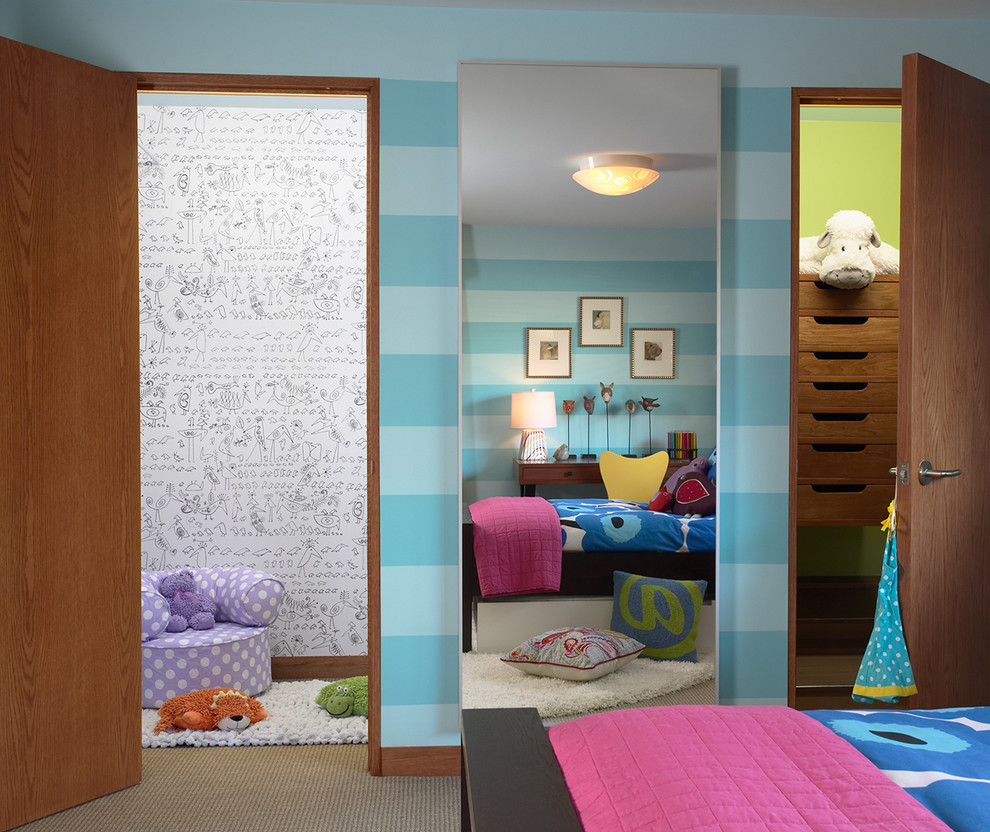 Twin Duvet Cover Kids Contemporary with Bedding Blue Striped Wall Bright Colors Carpeting Ceiling Light Chair Closet Closet