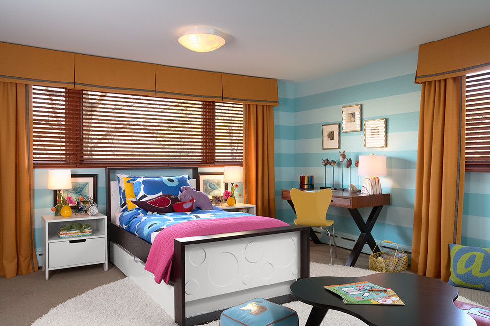 Twin Duvet Covers Kids Contemporary with Area Rug Bed Bedroom Blinds Blue Striped Wall Bright Colors Carpeting Ceiling