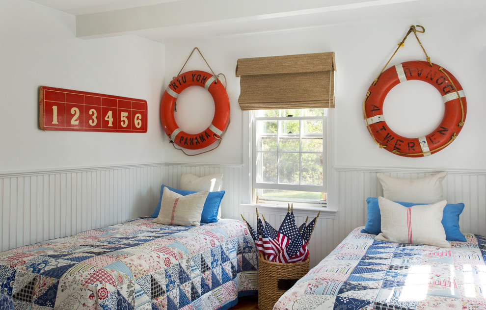Twin Extra Long Bedding Bedroom Beach with American Flags Bamboo Shades Beadboard Wainscoting Life Preservers Nautical Decor Quilts Ring