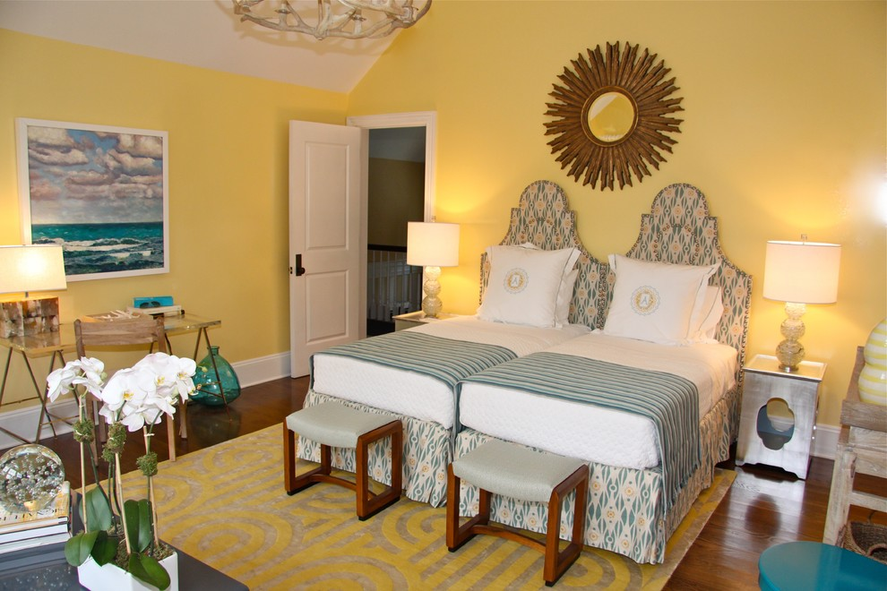 Twin Headboards Bedroom Eclectic with Antler Chandelier Area Rug Artwork Desk Night Stand Starburst Mirror Stools Table