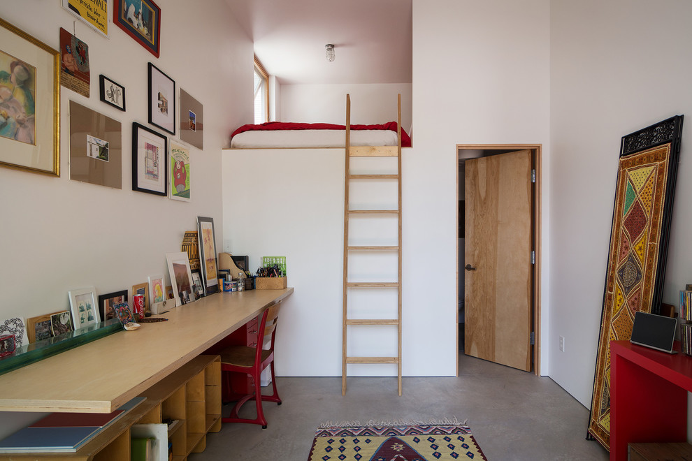 Twin Loft Bed with Desk Home Office Contemporary with Concrete Floor Frame Collage Leaning Artwork Leaning Wall Art Loft Bed Loft