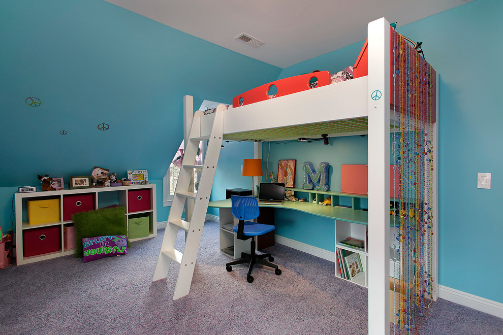 Twin Loft Bed with Desk Kids Contemporary with Aqua Blue Bead Curtain Bedroom Bunk Bed Carpeting Childs Bedroom Colorful Desk