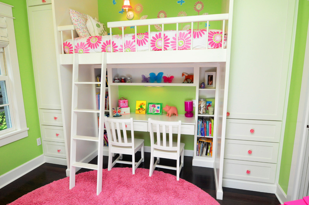 Twin Loft Bed with Desk Kids Traditional with Built in Closets Bunk Bed Over Desk Flower Bedding Girls Bedroom Green Wall