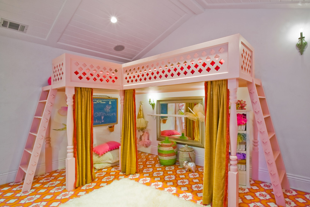 Twin Loft Beds Kids Eclectic with Ballet Barre Custom Loft Custom Painted Floor Girls Playroom Stage Stencil