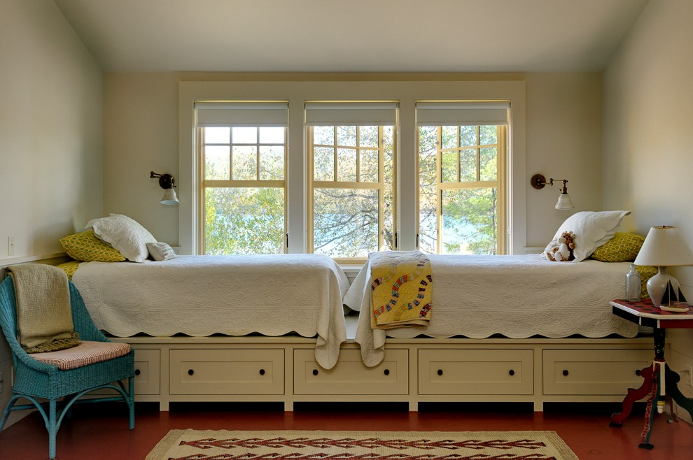 Twin Metal Bed Frame Kids Rustic with Area Rug Blue Wicker Side Chair Casement Windows Country Lake House Pedestal