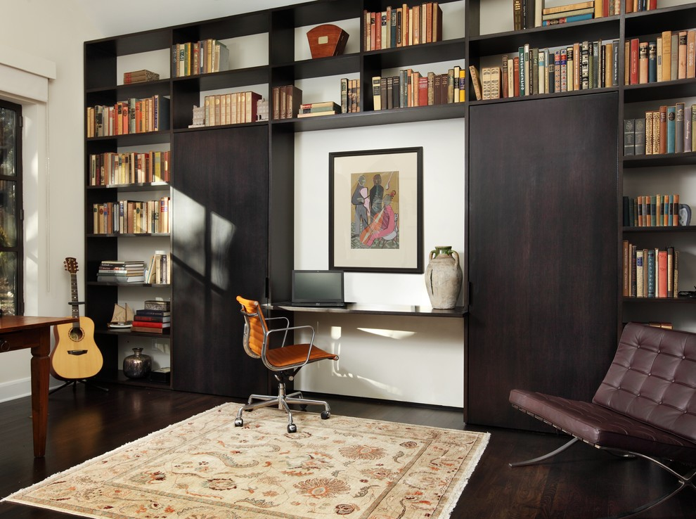 Twin Murphy Bed Home Office Contemporary with Bookshelves Brown Leather Side Chair Built in Bookshelves Built in Desk Built in Storage
