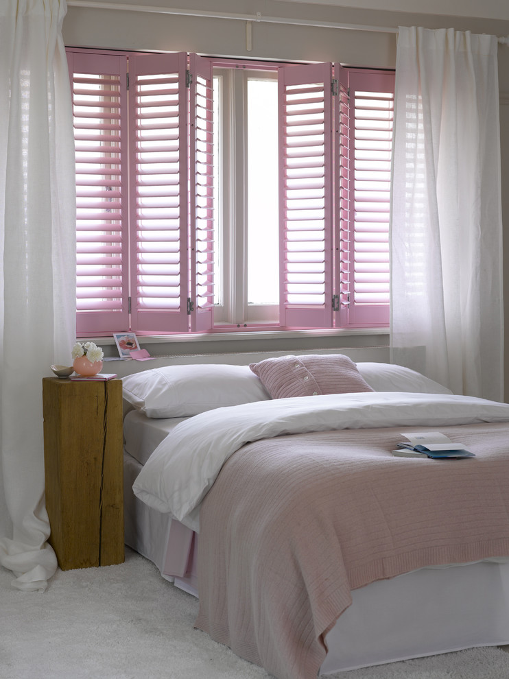 Twin Over Full Bunk Bed with Stairs Kids Contemporary with Bedroom Girls Room Girls Bedroom Girly Highprofile Shutters Pink Pink Bedding Pink