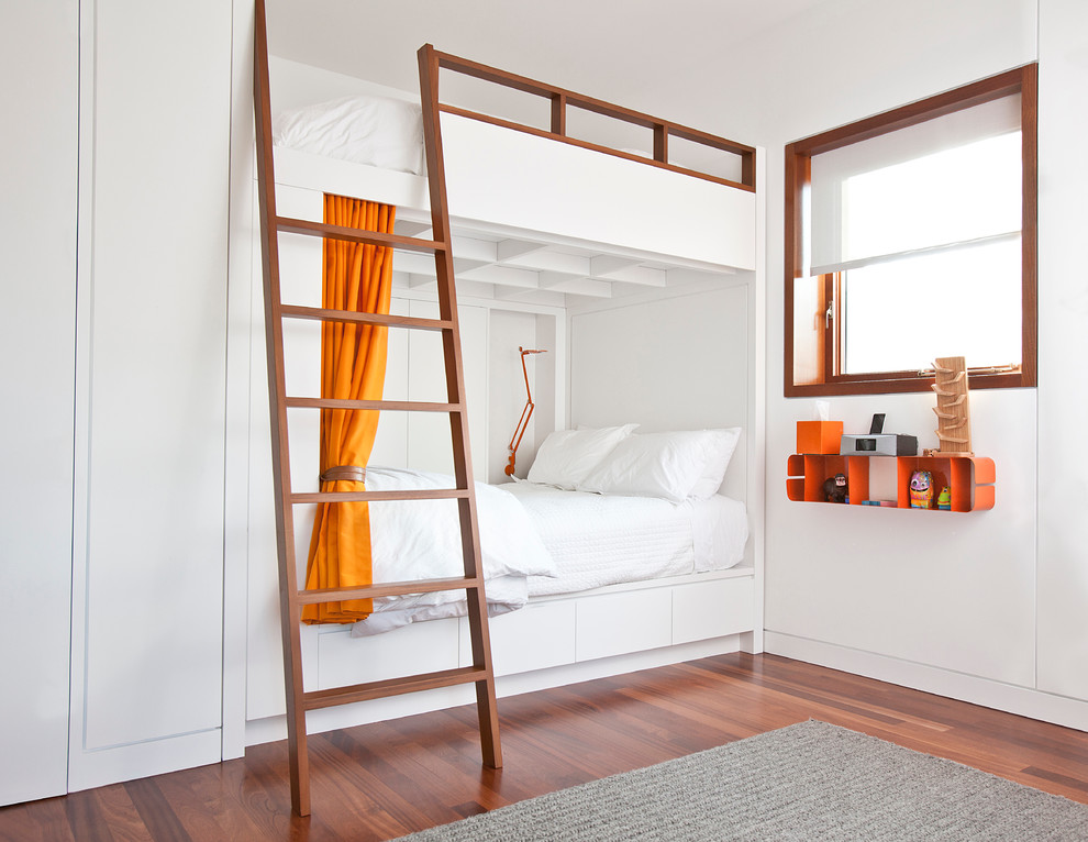 Twin Over Full Bunk Bed with Stairs Kids Industrial with Bunk Bunk Beds Bunk Room Gray Area Rug Hermes Orange Ladder Modern