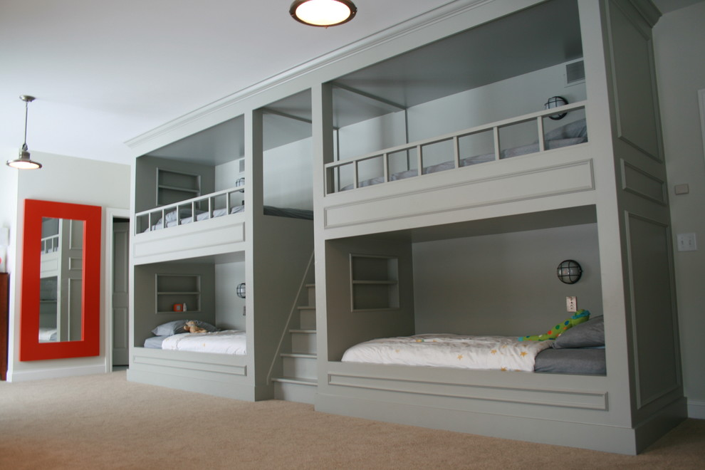 Twin Over Full Bunk Bed with Stairs Kids Traditional with Bedroom Built in Furniture Bunk Beds Dutch Bed Loft Bed Pendant Lighting