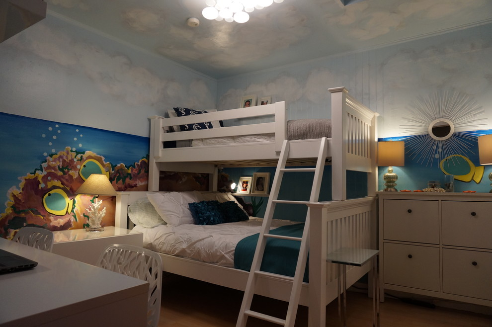 twin over full bunk beds Kids Beach with beach bedroom blue blue sky bubble light clouds coral fish Ikea kids