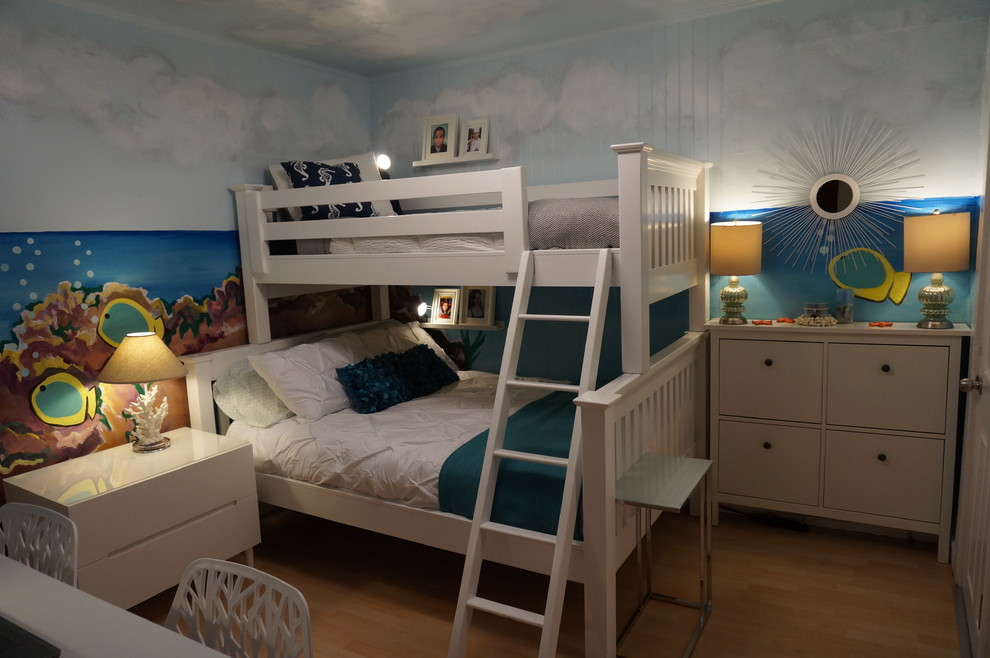 Twin Over Full Bunk Beds Kids Beach with Beach Bedroom Blue Blue Sky Bubble Light Clouds Coral Fish Ikea Kids1