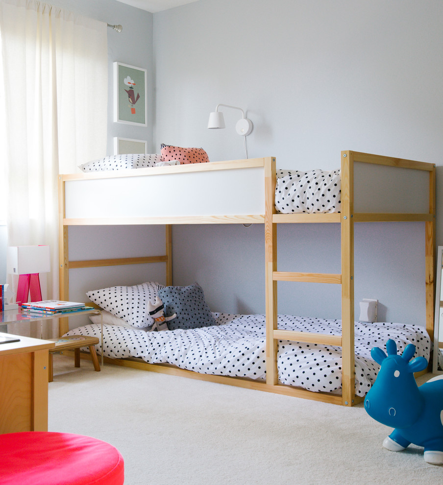 Twin Over Futon Bunk Bed Kids Transitional with Beige Carpet Bouncy Toy Cow Bunk Bed Loft Bed My Houzz Polka