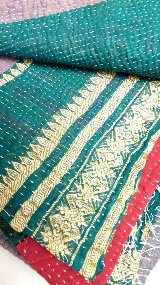 twin quilt Spaces with blanket coverlet embroidered blanket embroidered quilt Kantha kantha quilt kantha throw quilt