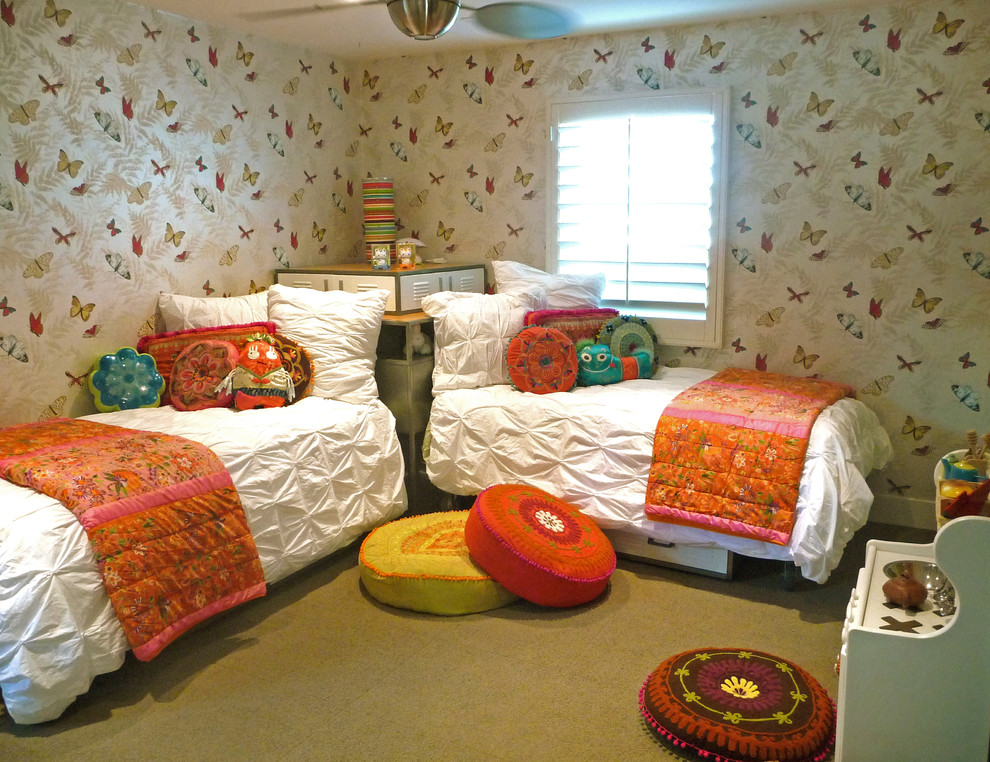Twin Quilts Kids Eclectic with Butterflies Carpet Tiles Ceiling Fan Locker Beds Pillows Plantation Shutters Play Stove