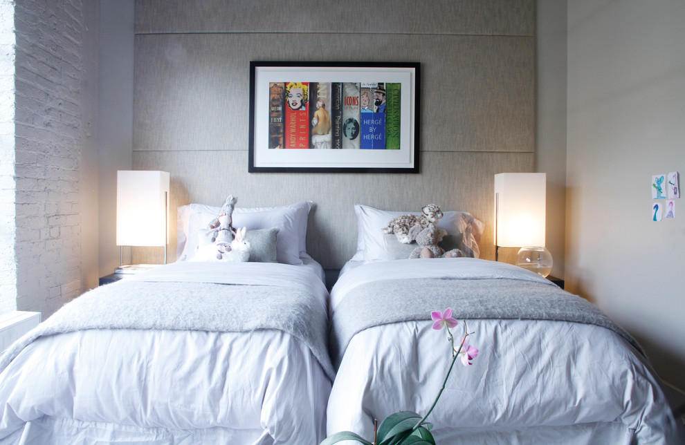 Twin Xl Comforter Kids Modern with Artwork Bed Skirt Duvet Fish Bowl Girls Room Gray Painted Brick Table