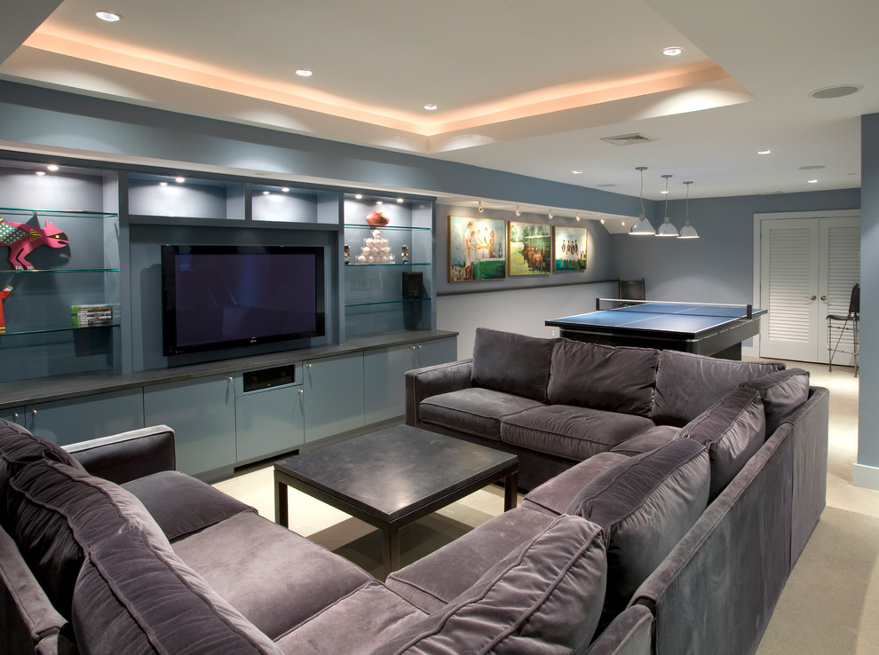 U Shaped Couch Basement Contemporary with Blue Cabinets Blue Walls Cove Lighting Flat Panel Cabinets Flat Screen Tv