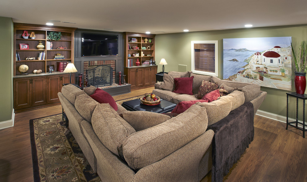 u shaped couch Family Room Traditional with basement bookshelves fireplace surround laminate floors sectional woven roman shades