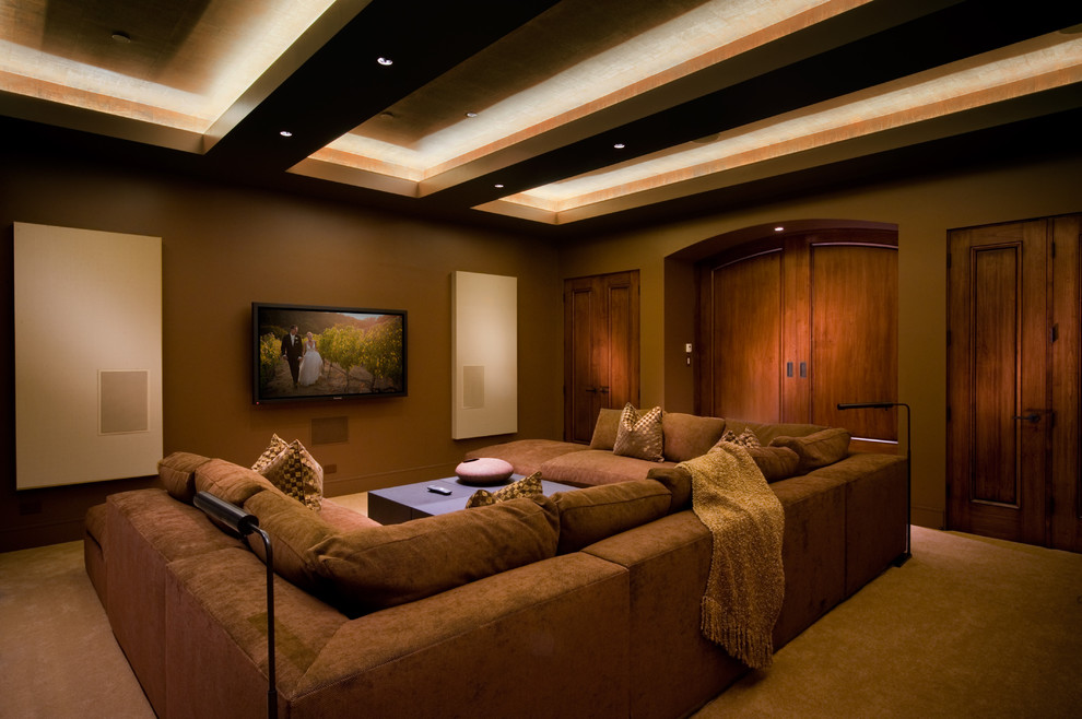 U Shaped Couch Home Theater Contemporary with Arched Double Door Arched Pocket Door Beige Sound Buffers Beige Wall Panels