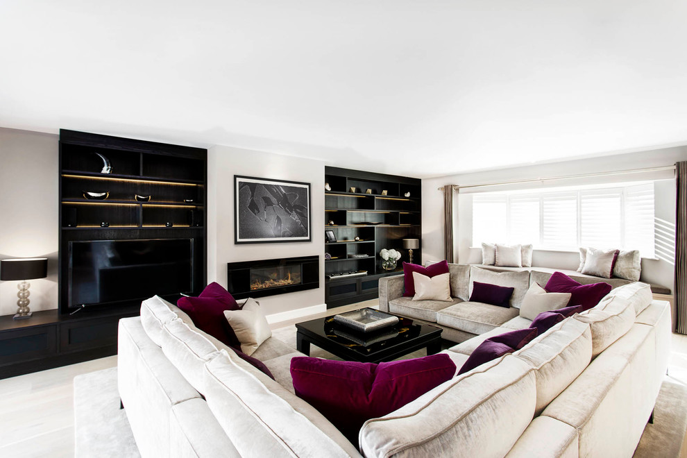 U Shaped Couch Living Room Contemporary with Accessories Art Black Coffee Table Black Shelves Built in Bookshelves Built in Window Seat