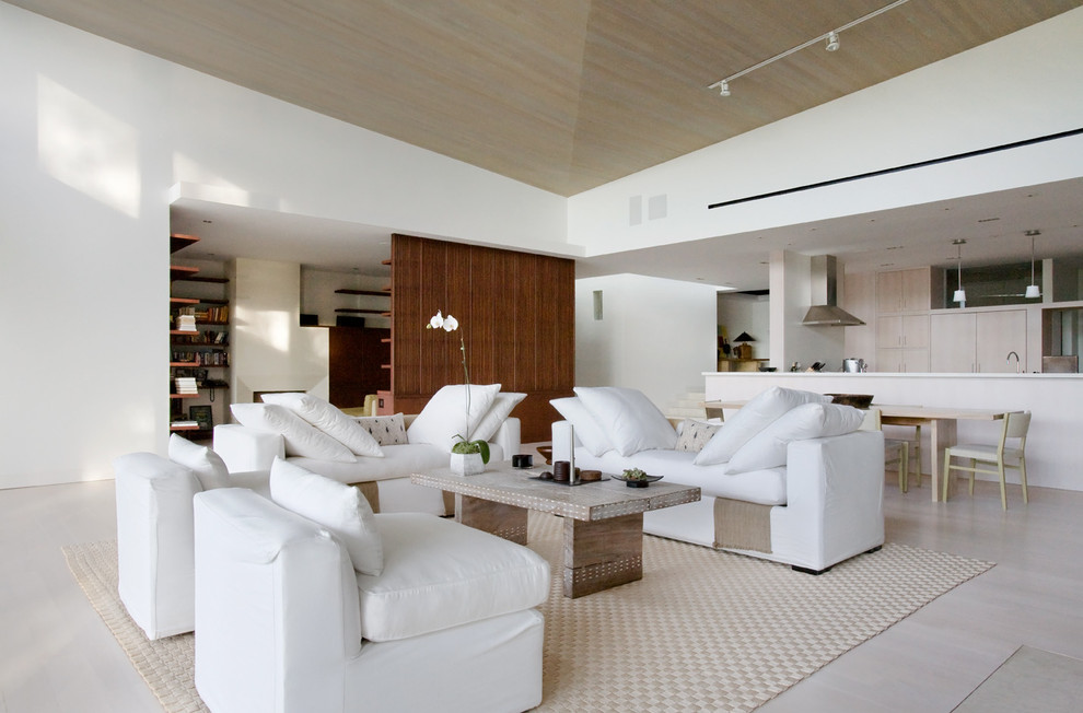 U Shaped Couch Living Room Contemporary with Beach House Bleached Wood Contemporary Home Floating Shelf Framed View High Ceiling