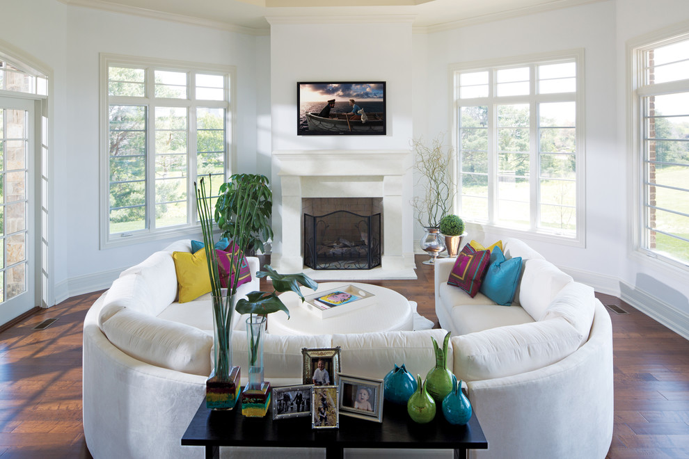 U Shaped Couch Living Room Contemporary with Console Crown Molding Curved Sofa Cushions Fireplace Fireplace Screen Framed Photos Hardwood