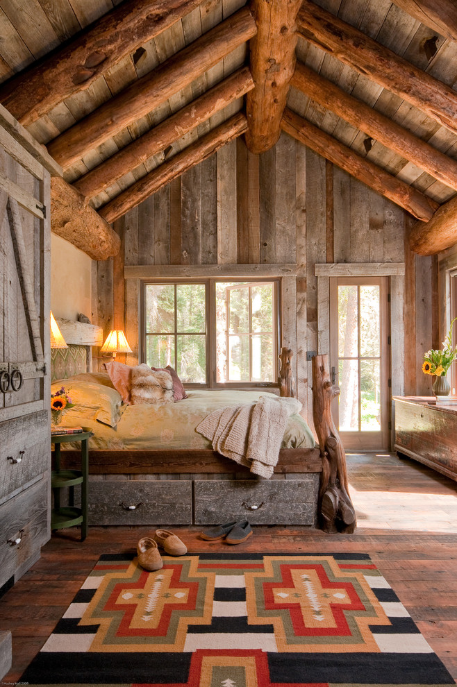 Underbed Drawers Bedroom Rustic with Beige Bedding Beige Wall Big Sky Big Sky Montana Big Sky Montana