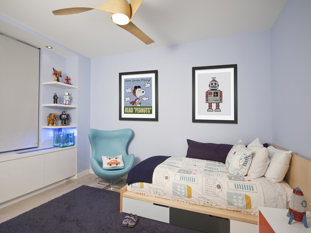 Underbed Drawers Kids Modern with Area Rug Artwork Bedside Table Blue Armchair Blue Walls Built in Shelves Ceiling