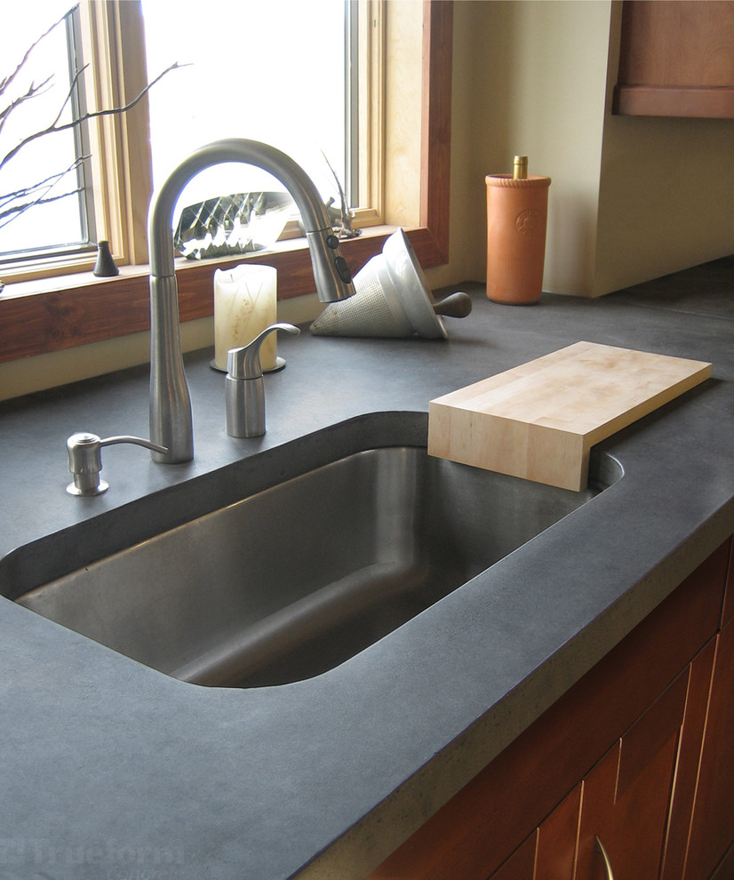 Undermount Kitchen Sink Kitchen Contemporary with Cement Countertop Concrete Countertop Concrete Countertops Kitchen Countertops Kitchen Island Modern Kitchen
