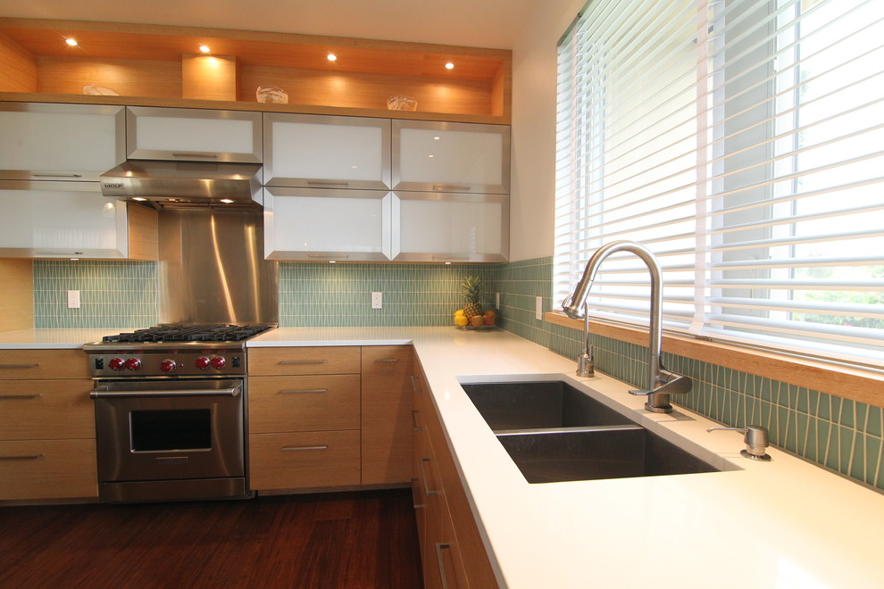Undermount Sinks Kitchen Modern with Cesar Stone European Cabinets Glass and Metal Cabinets Glass Tile Kitchen Modern