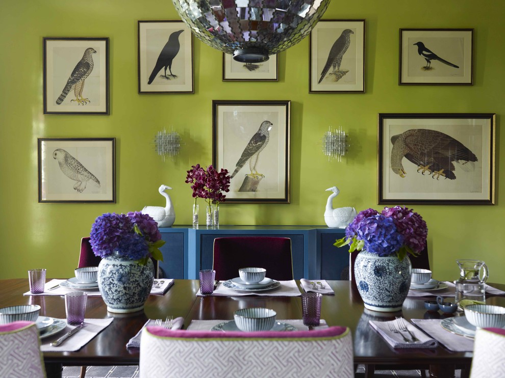 Unique Bird Feeders Dining Room Contemporary with Analogous Color Scheme Centerpiece Chartreuse Floral Arrangement Gallery Wall Green Walls Prints