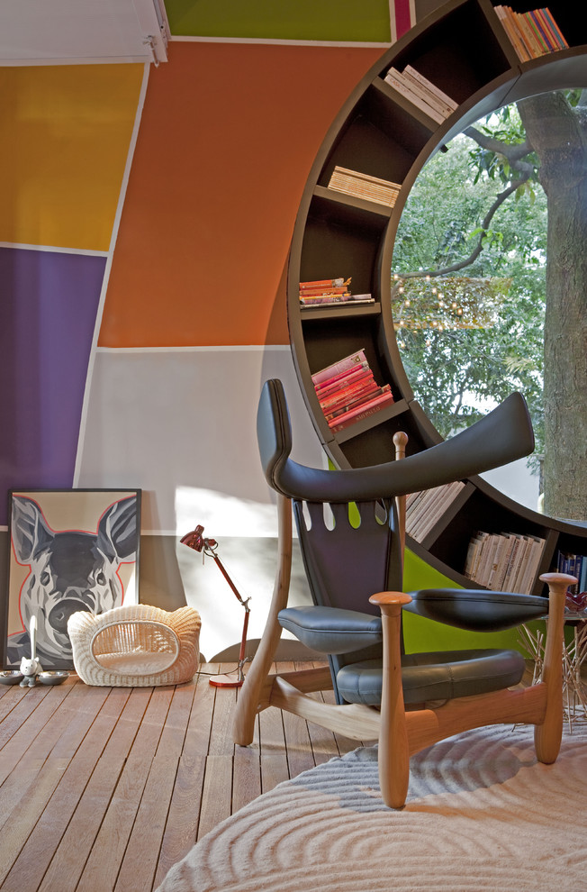 Unique Bookshelves Living Room Modern with Armchair Art Built in Bookcase Color Grey Armchair Round Bookcase Wood Floor