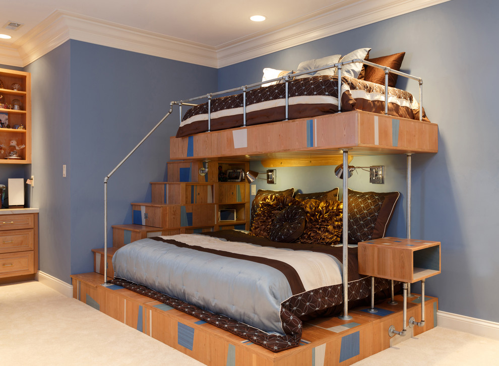 unique bunk beds Kids Contemporary with blue bedding blue walls brown and blue brown bedding bunk bed Custom
