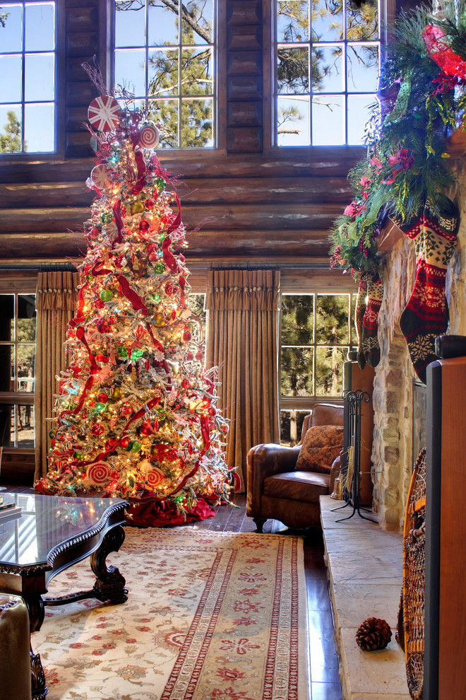 Unique Christmas Tree Toppers Family Room Rustic with Beige Curtains Big Bear Lake Christmas Decor Christmas Decorating Christmas Tree Leather