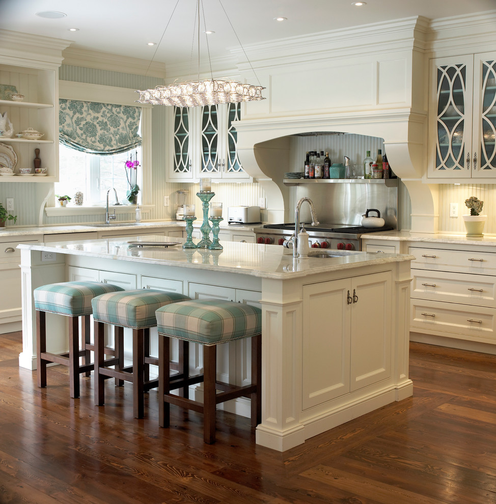 Upholstered Bar Stools Kitchen Traditional with Beadboard Backsplash Blue and White Kitchen Bridge Faucet Contemporary Ceiling Light Cream