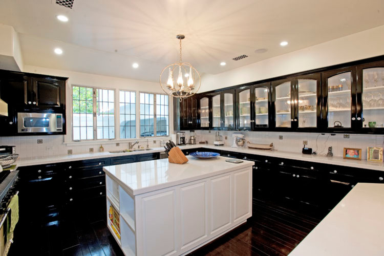 Upholstered Bar Stools Kitchen Traditional with Cabinets Coffered Ceiling Kitchen Remodel