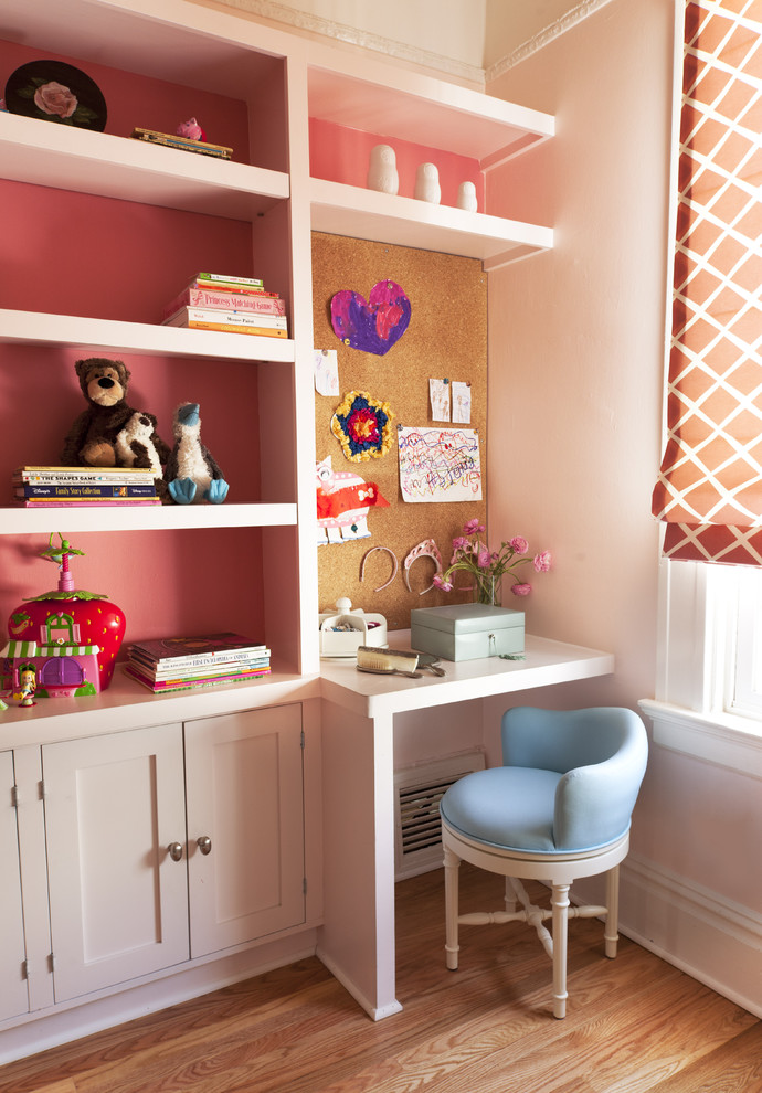 Upholstered Desk Chair Kids Traditional with Built in Bookshelves Built in Cabinets Built in Desk Coral Cork Board
