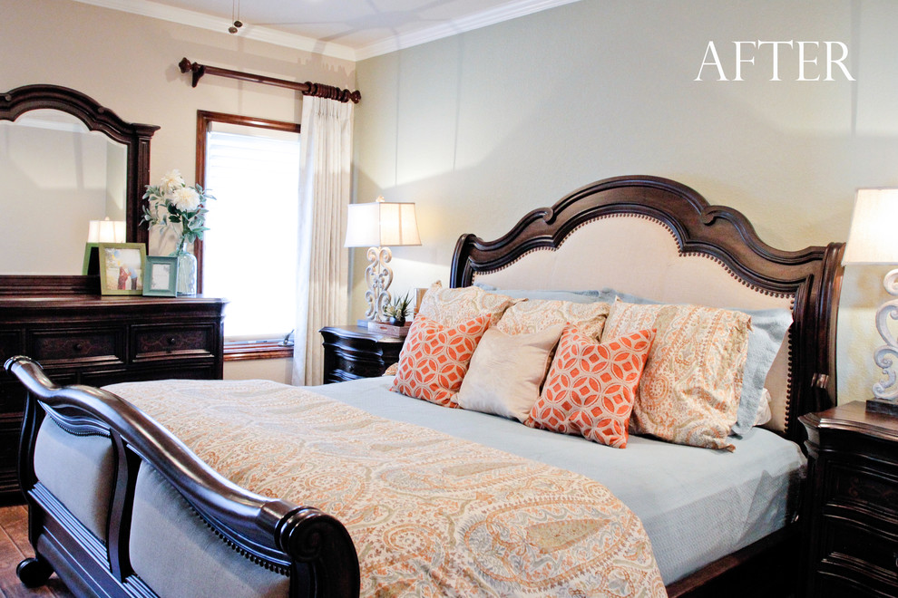 Upholstered King Bed Bedroom Transitional with Hunter Douglas Nantucket Shades Liz Light Interiors Master Bedroom Retreat Pinch Pleat