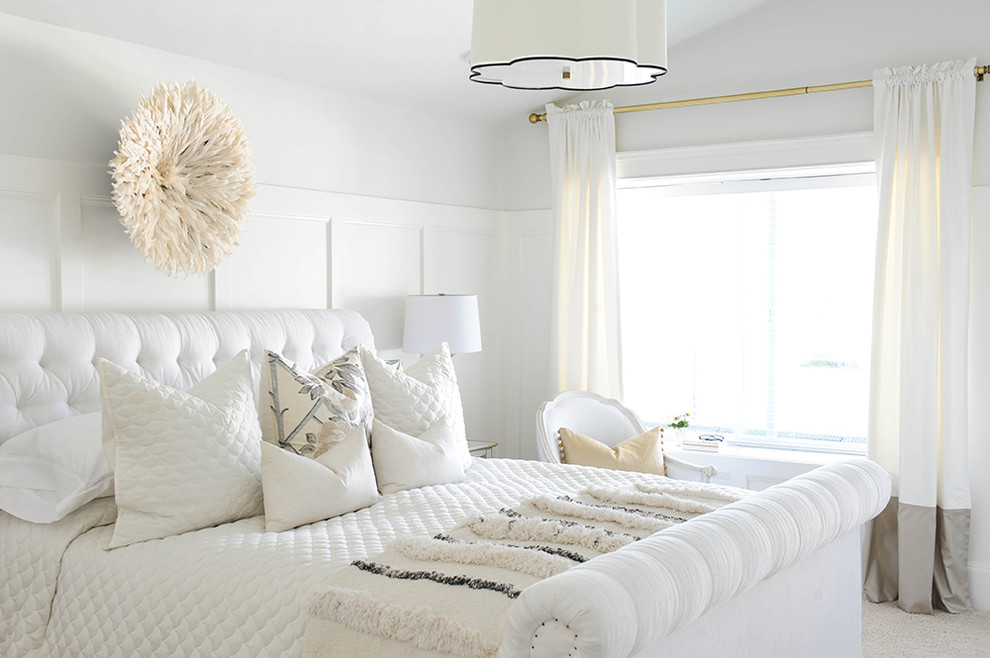 Upholstered Sleigh Bed Bedroom Transitional with Benjamin Moore Simply White Drapes Master Bedroom Molding Millwork White Bed White