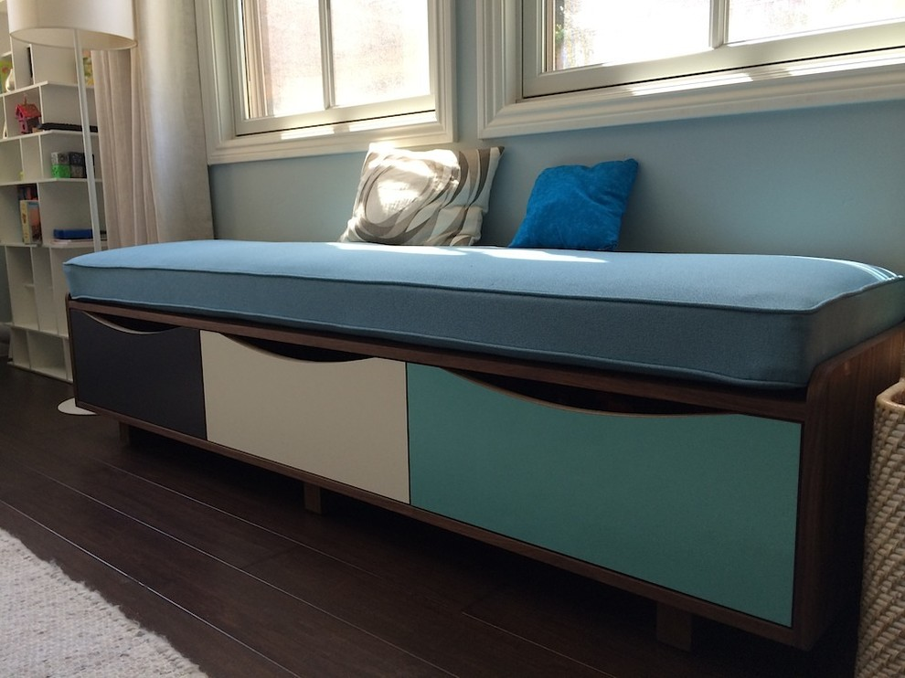 Upholstered Storage Bench Kids Modern with Abet Laminati Bay Area Furniture Custom Furniture Custom Made Furniture Design Hand Rubbed