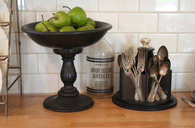 Utensil Holder Kitchen Traditional with Antique Black Green Apples Silverware Caddy Subway Tile