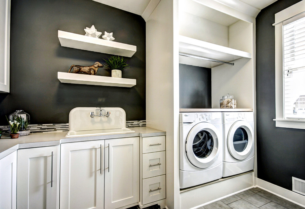 Utility Sink Cabinet Laundry Room Traditional with Black and White Black Painted Wall Blinds Built Ins Counter Floating Shelves Front