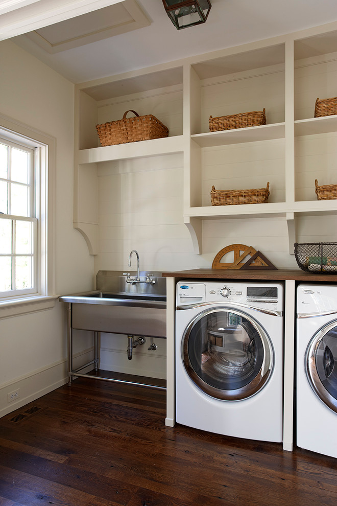 Utility Sinks Laundry Room Traditional with Angles Antique Rulers Baseboard Dark Stained Wood Floor Laundry Room Metal Basket