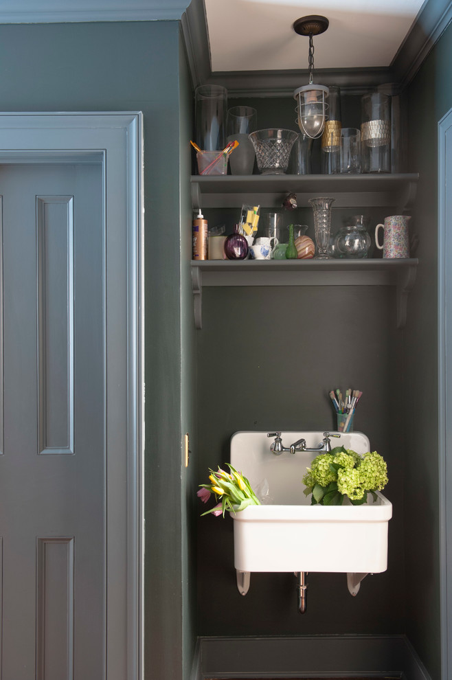 Utility Sinks Laundry Room Traditional with Blue Trim Blue Walls Farmhouse Sink Vase Storage Wall Mounted Sink
