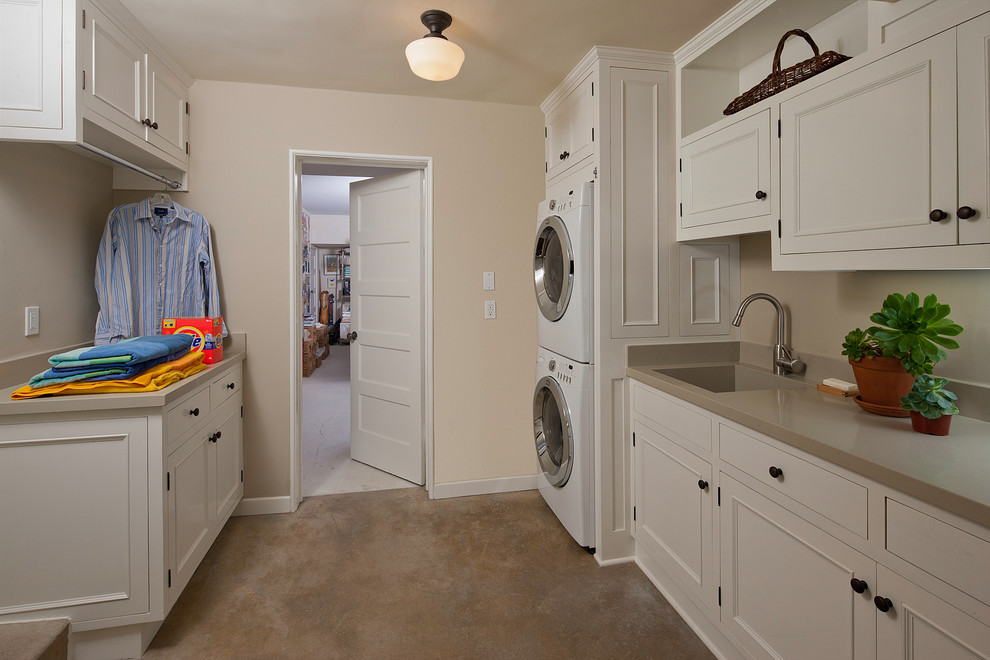 Utility Sinks Laundry Room Traditional with Built in Storage Drying Rack Neutral Colors Schoolhouse Sconce Stackable Washer And
