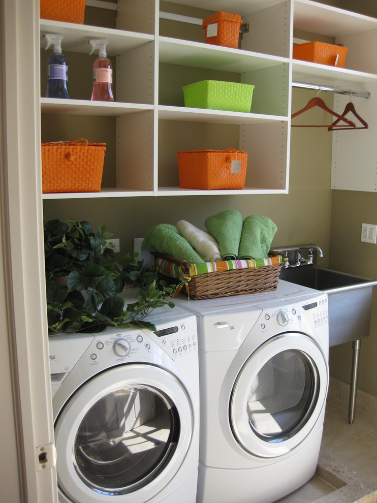 utility sinks Laundry Room Traditional with front load washer laundry organizers shelving stainless steel sink