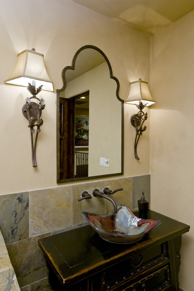 Uttermost Powder Room Traditional with Bathroom Glass Sink Guest Bath Moroccan Mirror Ornate Lighting Fixtures Repurposed Bathroom