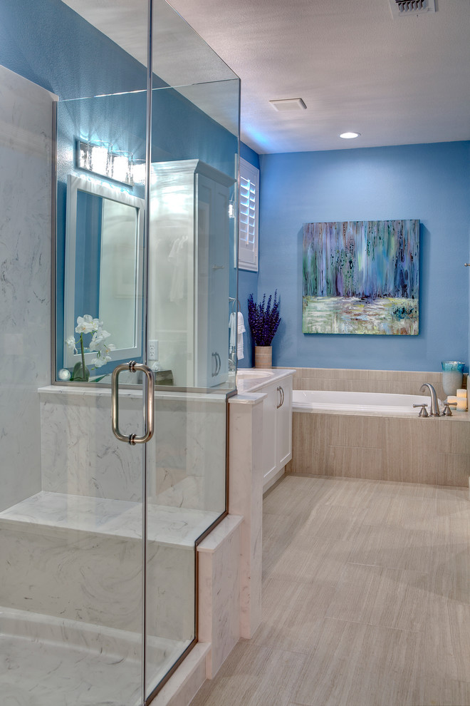 Uttermost Com Bathroom Contemporary with Bathroom with Separate Shower and Tub Blue Bathroom Counter Top Cabinet Glass