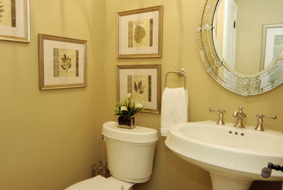 Uttermost Com Bathroom Traditional with Art Display Guest Bath Half Bath Pedestal Sink Silver Fixtures Small Bathroom