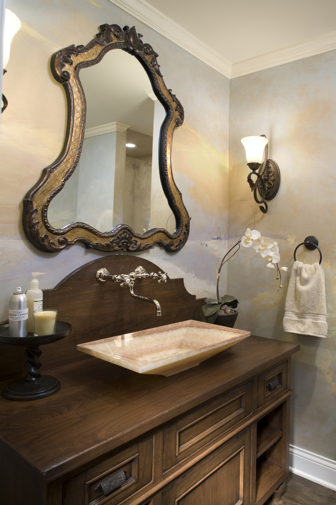 uttermost com Bathroom Traditional with baseboard crown molding dark stained wood dark stianed wood faux painted frame
